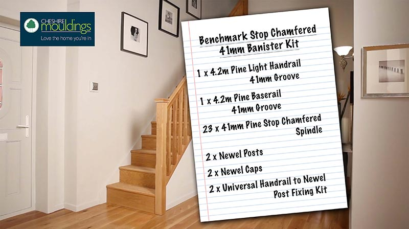 Benchmark 41mm Stop Chamfered Pine Rake Stairkit Parts List