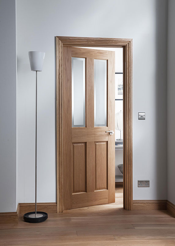 Cheshire 2 Panel Internal Door In Oakfrosted Glass