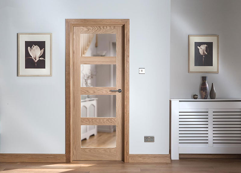 Shaker 4 Panel Glazed Oak Door Landscape