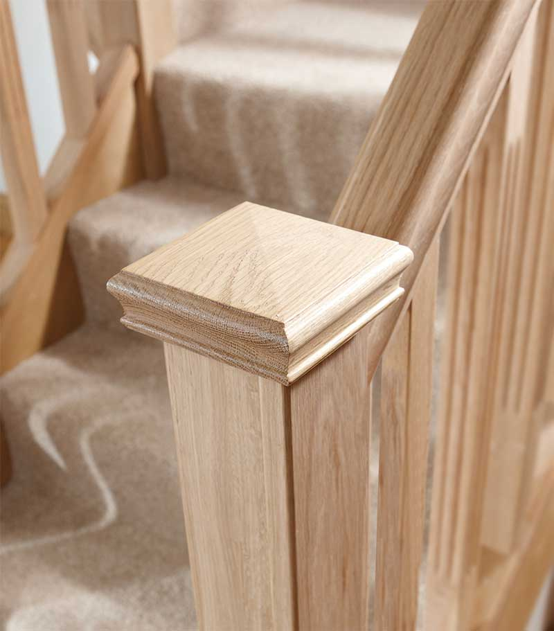 55957825341 Supportive image to help with the Oak Pyramid Newel Cap 125 x 125 x 47