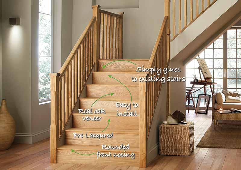 Supportive image to help with the 1000mm StairKlad Tread and Riser Kit (Pack of 1) in Oak
