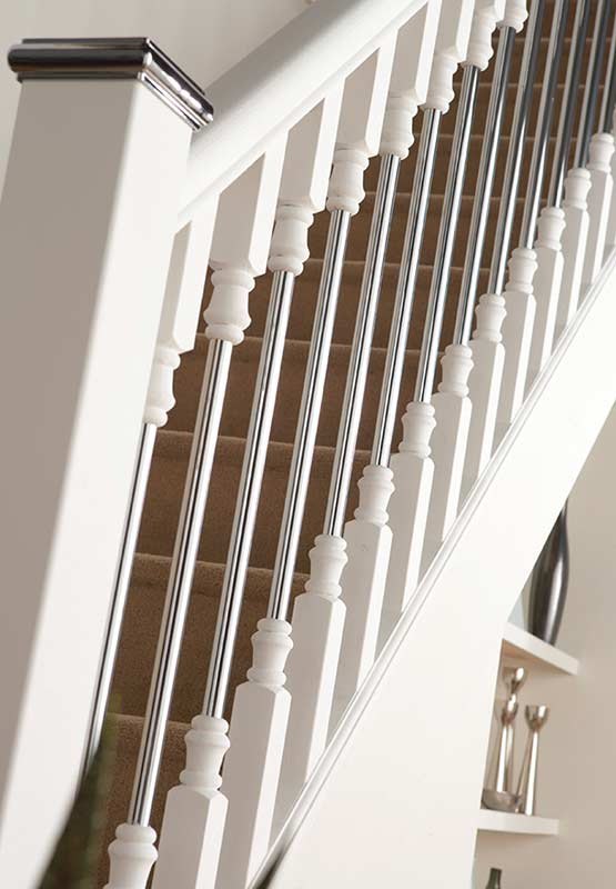 High Quality Supportive Image To Help With The Benchmark Solo 1100mm Spindle   White  Primed/Chrome