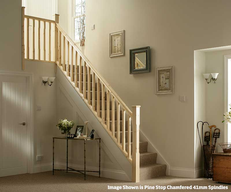 32mm Groove Stop Chamfered Banister Stairkit in Pine