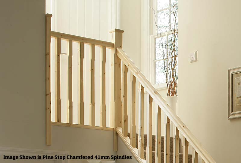 32mm Groove Stop Chamfered Landing Stairkit in Pine