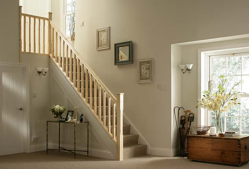41mm Groove Stop Chamfered Banister Stairkit in Pine