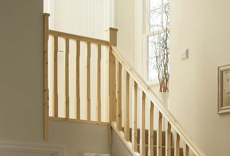 41mm Groove Stop Chamfered Landing Stairkit in Pine