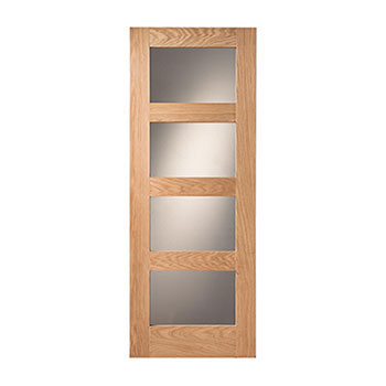 Oak Glazed 762mm wide Internal Door from the Shaker range