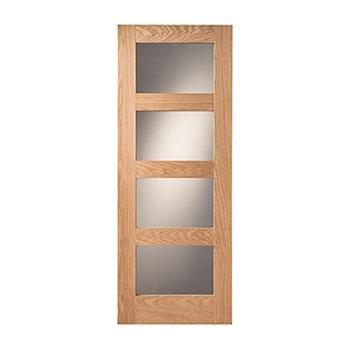 Oak Glazed 838mm wide Internal Door from the Shaker range